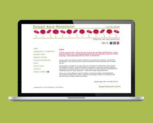 Portfolio: Elisabet Agar Homeopathy website by Kite Web Design