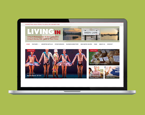 Portfolio: LivingIn magazines website by Kite Web Design