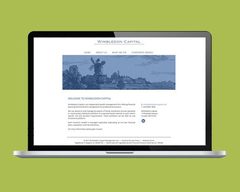 Portfolio: Wimbledon Capital website by Kite Web Design
